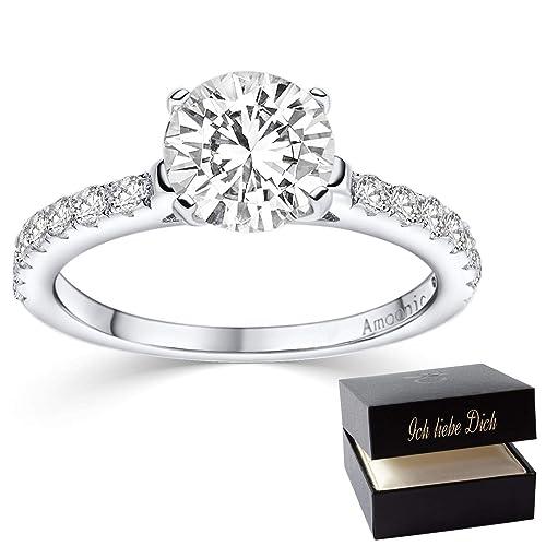 Verlobungsring Ring Damen Silber 925 Von Amoonic Zirkonia Stein Mit