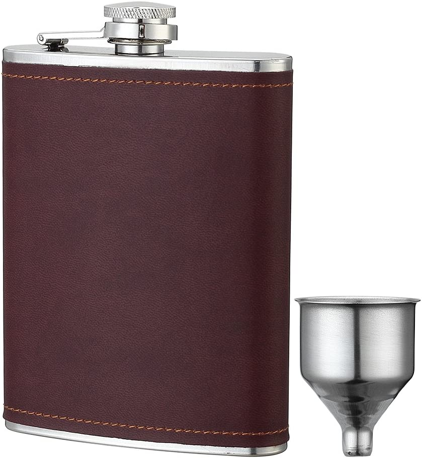 YWQ 8oz Stainless Steel Brown PU Leather Flask Heavy Duty Hip Flask Gift Set,Includes Funnel and Gift Box