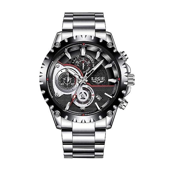 Relojes para Hombres,LIGE Impermeable Cronógrafo Analógico de Cuarzo Relojes