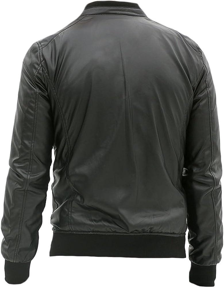 Sleekhides Mens Fashion Slimfit High Quality Real Leather Bomber Jacket