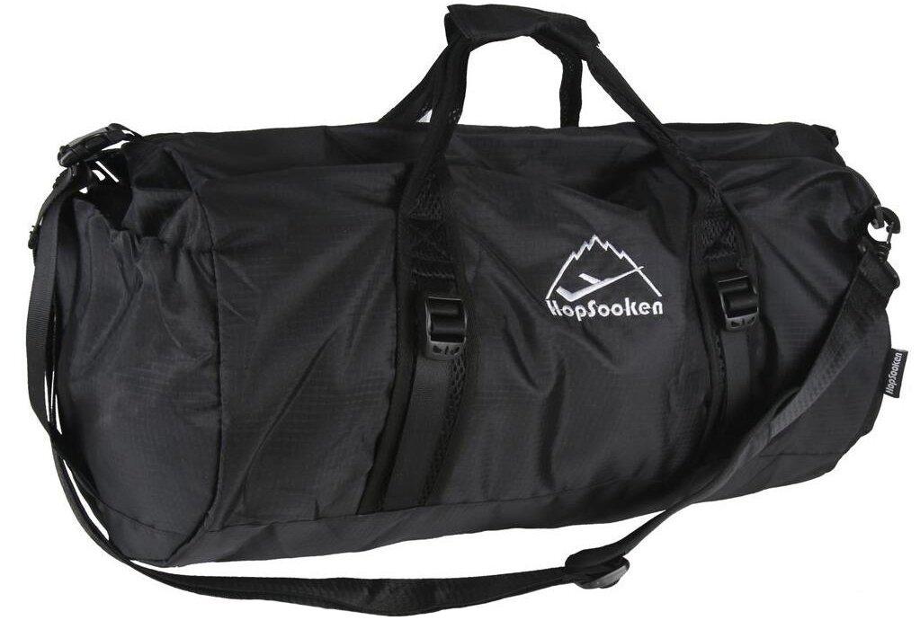 Hopsooken 50L Packable Travel Duffle Bag Waterproof Foldable Sport Gym Bag Nylon (Black)