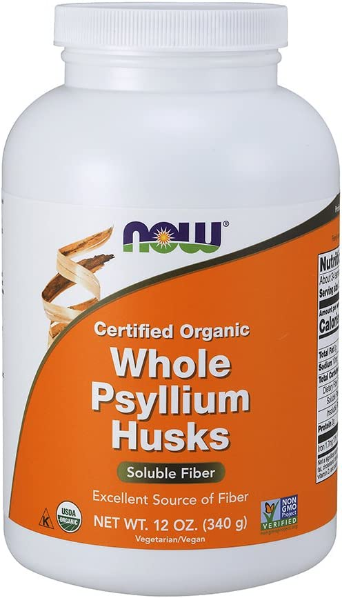 NOW Supplements, Whole Psyllium Husks, Certified Organic, Non-GMO Project Verified, Soluble Fiber, 12-Ounce