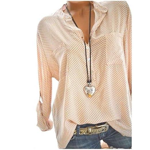 4d514587c7d6 vermers Women Long Sleeve T Shirt - Women Casual V-Neck Wave Point Printing  Plus