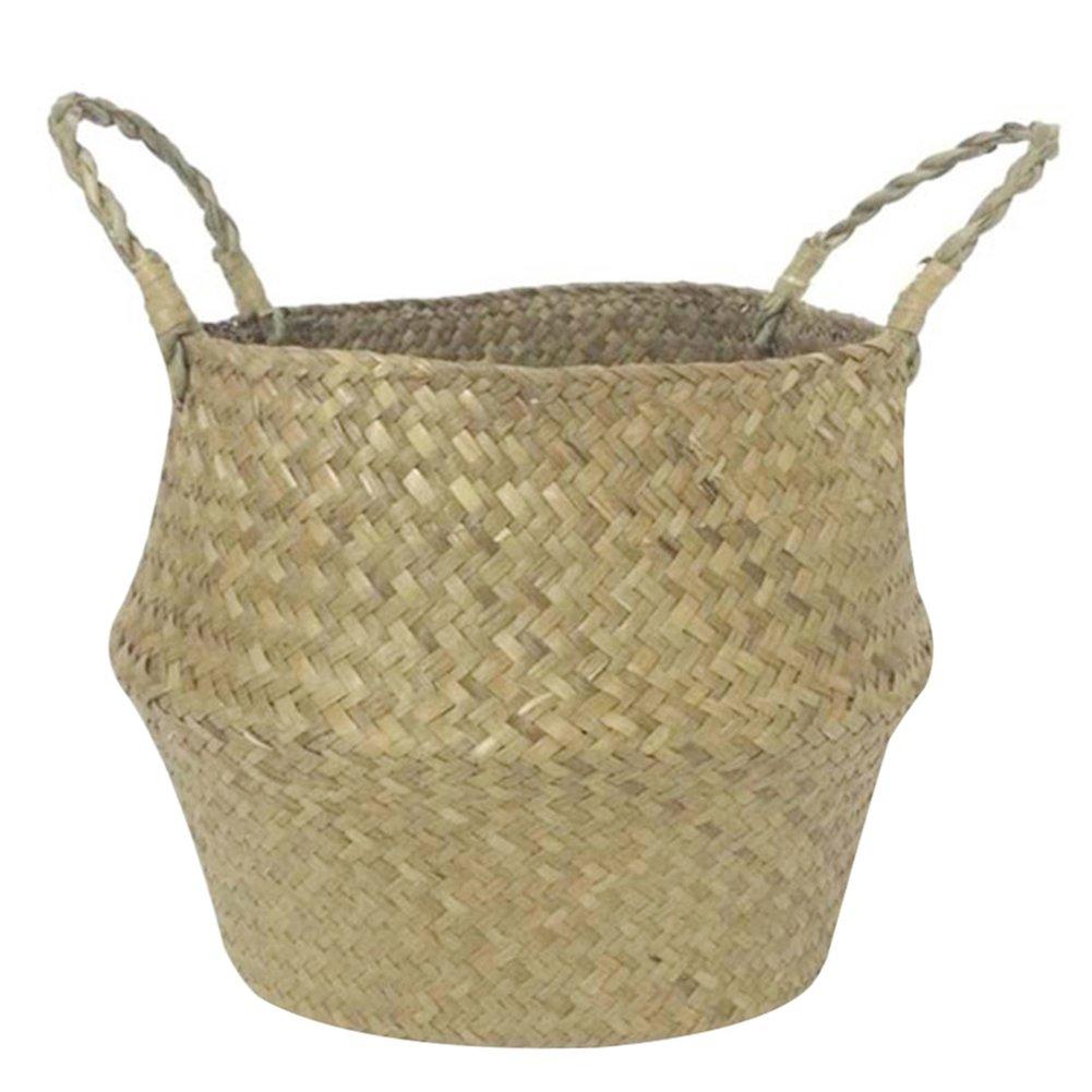 Handheld Paille tissé Panier à linge jouet Panier de rangement avec poignée pliable noué Plante Pots de fleurs, Paille, Small zyurong