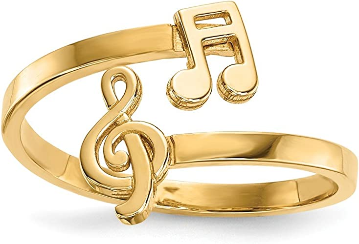 Sterling Silver Musical Note Bypass Ring