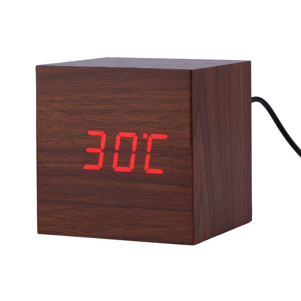 LED Digital Alarm Clock ixaer Wood Digital LED Brown Alarm Clock with Time Date Hygrometer And Temperature Clock - Multi-functional Small Silent Modern Style Electronic Alarm Clock by ixaer (Image #2)