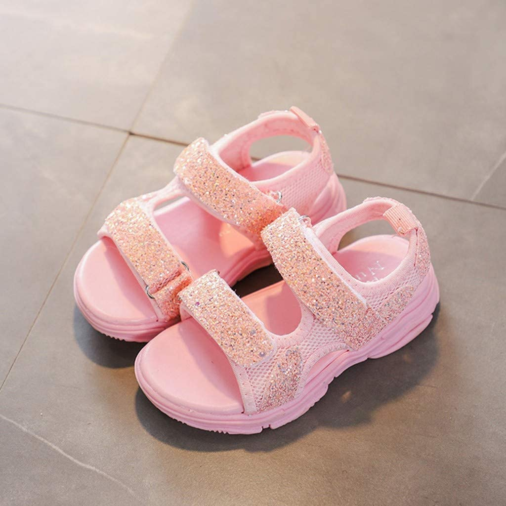 Anxinke Kids Girls Summer Open Toe Sequins Platform Sports Sandals