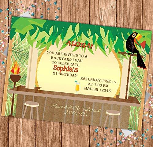 Luau Custom Birthday Invitation - Hawaian Party Invite - Personalized
