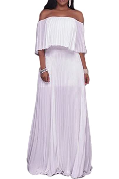 3de7362d691 Zilcremo Women Summer Elegant Off Shoulder Pleated Chiffon Swing Maxi Dress  at Amazon Women s Clothing store