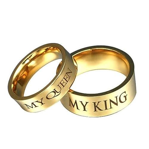 Bishilin 1 Par Anillos de Acero Inoxidable para Hombre Mujere Plata con Grabado MY QUEEEN MY KING Ronda Ancho 8/6 MM Anillos de Compromiso Anillos Oro ...