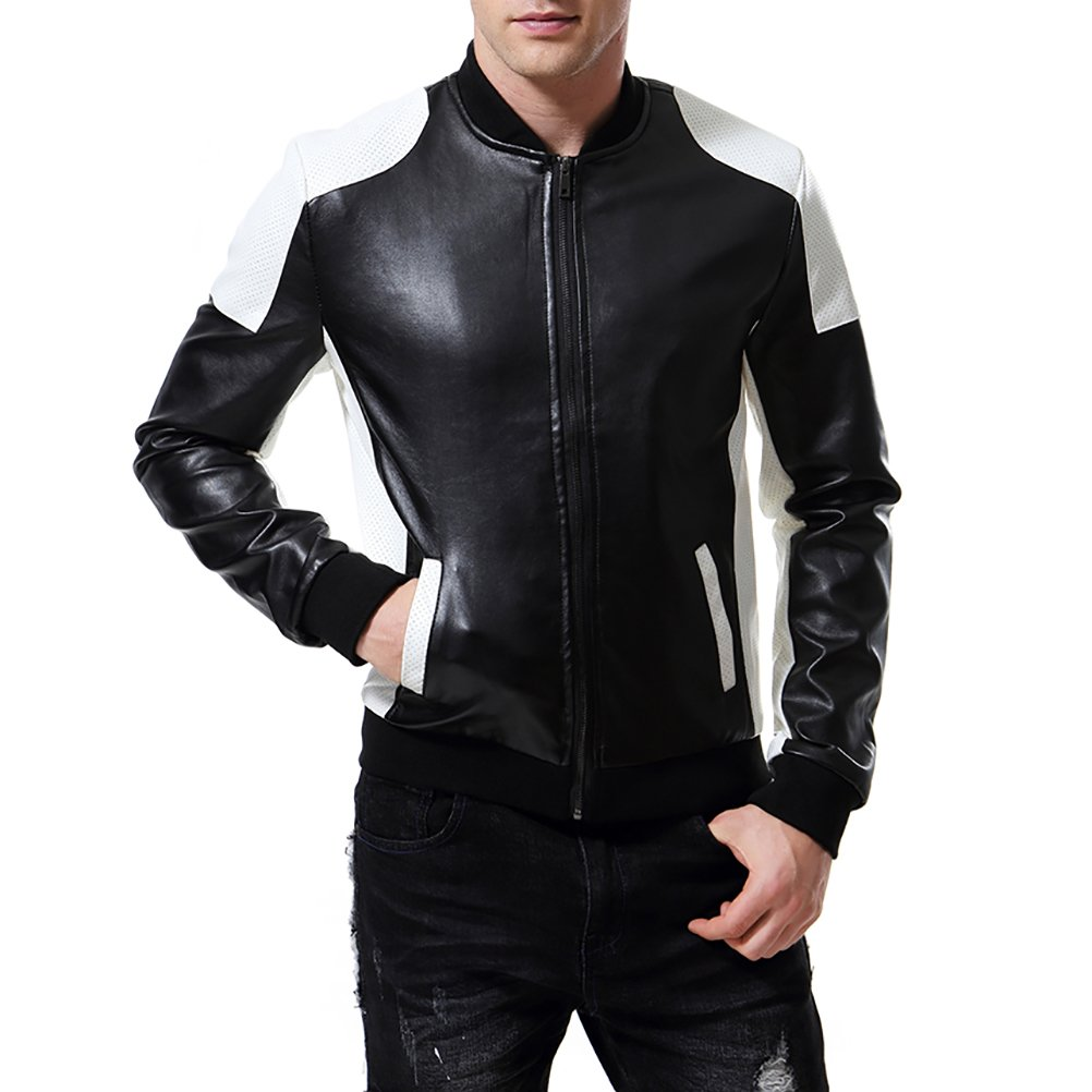 9e72c06a515 AOWOFS Men s PU Faux Leather Jacket White Black Moto Bomber Fashion Slim  Fit Coat at Amazon Men s Clothing store