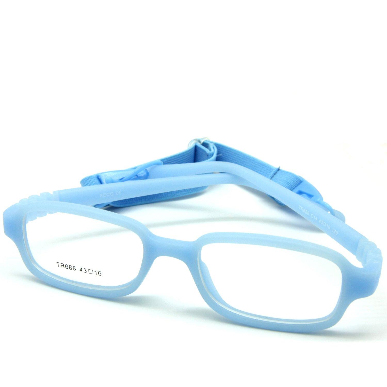 EnzoDate Kinder optische Brillengestell mit Gurt, Safe biegsam Größe 43/16 (Blau)