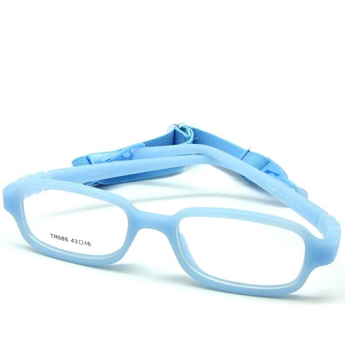 EnzoDate niños vidrios ópticos marco con correa, seguro flexible ...