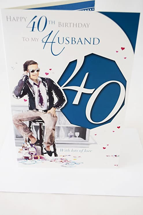 Happy 40th cumpleaños marido tarjeta elegante - Lovely ...