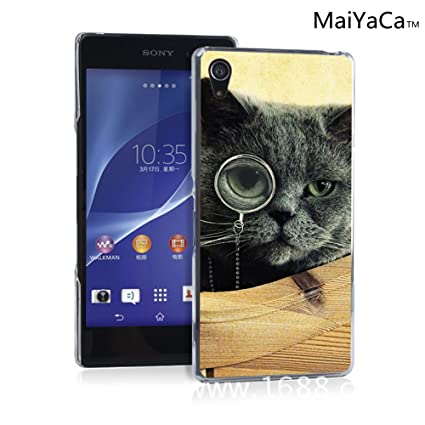 MaiYaCaTM M84608 Cat Monocle Glasses Wallpaper Phone Case For Sony Xperia Z2