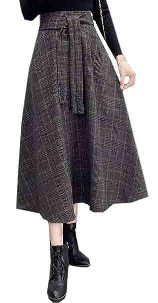 e05779f0e MOUTEN Womens Retro Wool Blended Check A-Line Elastic Waist Midi Skirts  Black XS