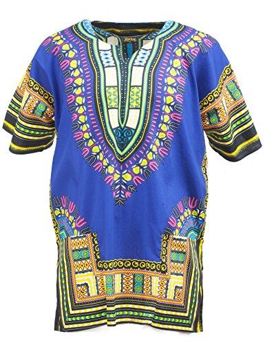 African Caftan - KlubKool Dashiki Shirt Tribal African Caftan Boho Unisex Top Shirt (Dark Blue,3X-Large)