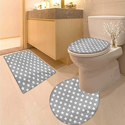 Amazon.com: Anhuthree Star Bath mat Set with Toilet Cover Big Stars ...