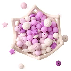 Baby Silicone Beads 100pcs BPA Free Food Grade Beads Purple Series DIY Jewelry Chewable Nursing Necklace Accessories
