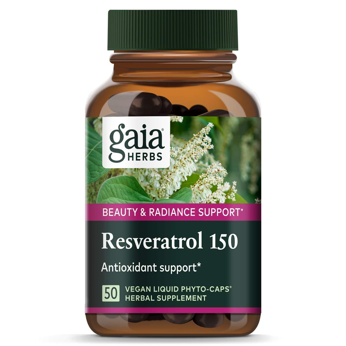 Gaia Herbs Resveratrol 150, Vegan Liquid Capsules, 50 Count - Antioxidant & Cardiovascular Support for Healthy Aging, Highly Concentrated Trans-Resveratrol by Gaia Herbs