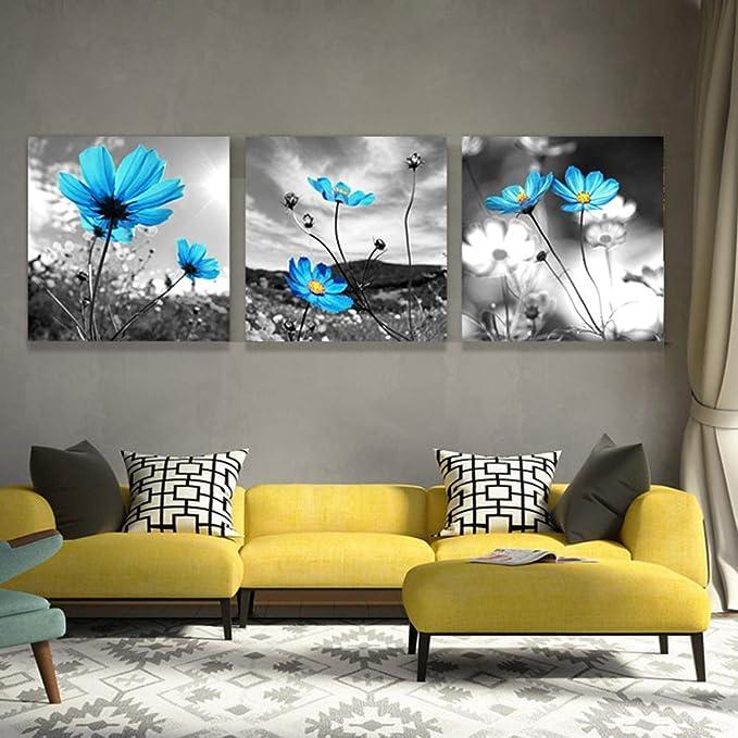 LJFYXZ Decoración De Arte De Pared Imprime Flor Azul ...