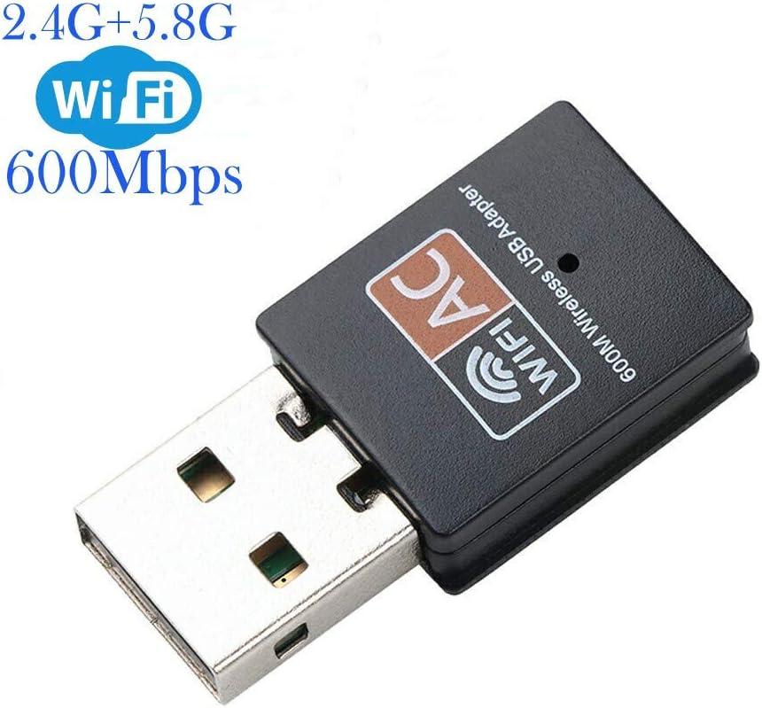 ElecMoga WiFi Dongle, Adaptador USB WiFi 600Mbps 2.4/5 GHz Mini Adaptador de Red inalámbrico Compatible con Windows 10/8/7/Vista/XP/2000/Mac OS X 10.4-10.14 (actualizado) AC600M