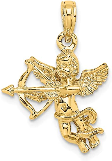 New Real Solid 14K Gold 3D Bow and Arrow Charm Pendant