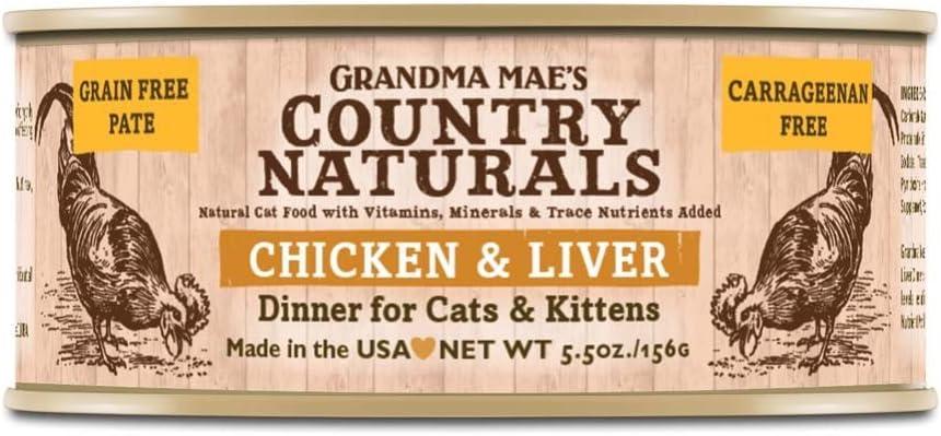 Grandma Mae'S 79700148 5.5 Oz Grain Free Chicken & Liver Dinner Cat Food (24 Pack), One Size
