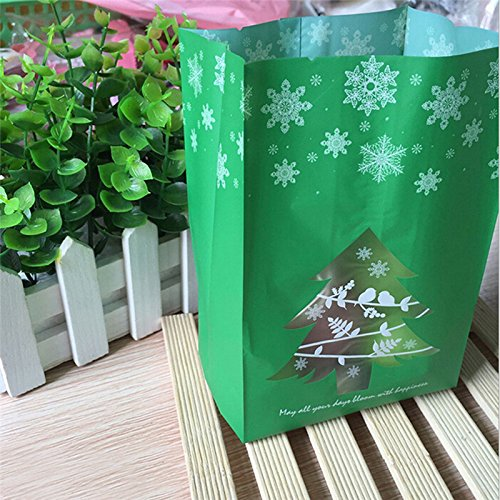 50pc Frosted Christmas Gift Bags Red Green Christmas Tree Snowflake Biscuit Party Candy Packing BagsChristmas New Year Gift Bags Kangsanli (Green) ()