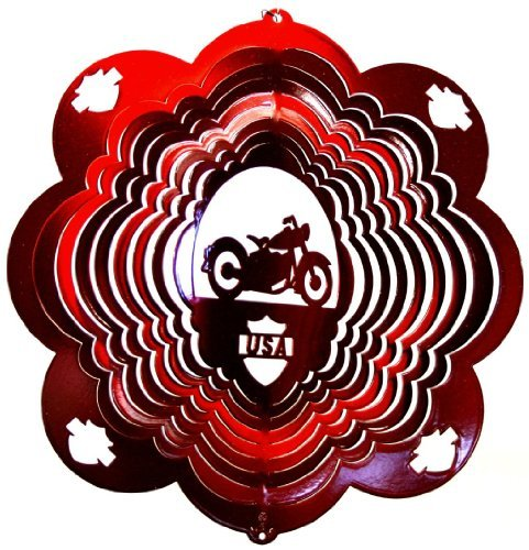 - Stainless Steel Motorcycle - 12 Inch Wind Spinner, Red