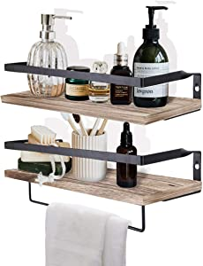 HANTAJANSS Floating Shelves Wall Mounted Set of 2, with Removable Towel Holder Mounted for Bedroom, Living Room, Bathroom, Kitchen, Office and More Carbonized Black(White Washed)