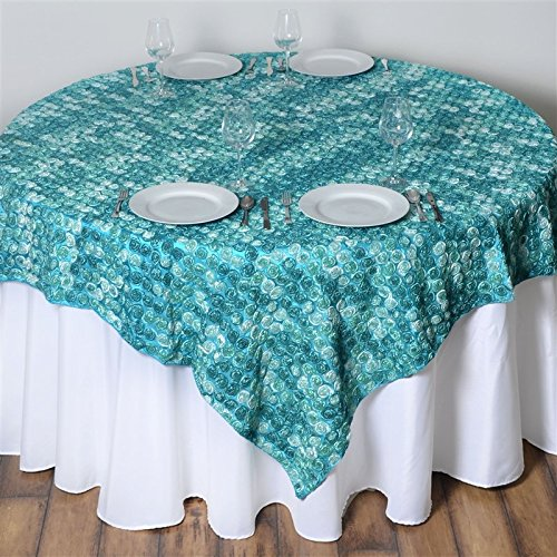 - 72 Inch X 72 Inch Triple-Tone Mini-Rosettes Table Overlays - Turquoise Umbre