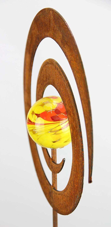 Blume Spitz Bornh/öft Gartenstecker Metall Rost Gartendeko rostige Dekoration Edelrost mit Glaskugeln