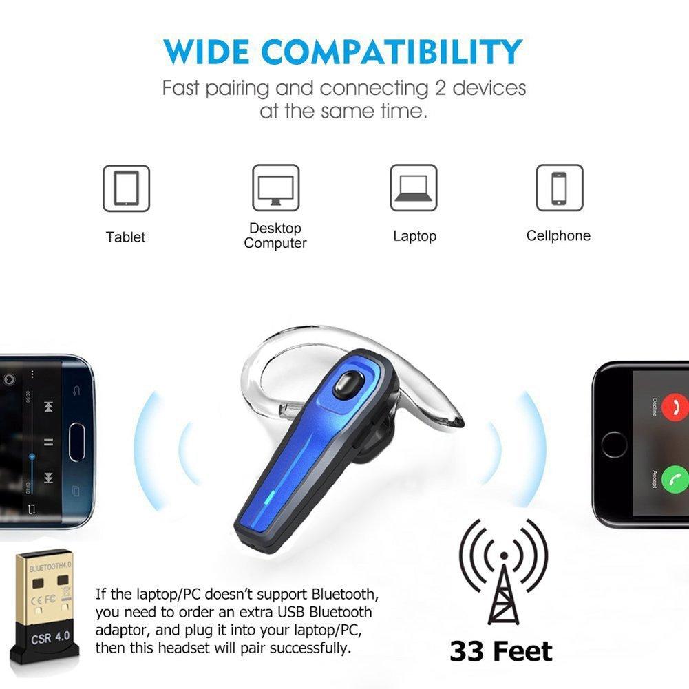 Bluetooth Headset, Wireless Headset Kopfhörer Bluetooth V4.1 Handfreies drahtloses Ohrhörer mit Mute Funk Kopfhörer Rauschunterdrückung Ohrhörer mit Mikrofon für Android / Iphone / PC, Auto / LKW Fahrer Business Headsets (SEED_headset)