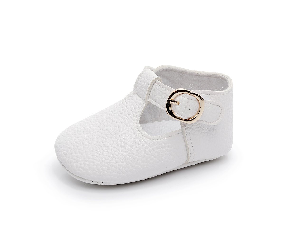 HONGTEYA Baby Girls Pure T-Strap Moccasins - Newborn First Walker Mary Jane PU Soft Soled Shoes (Size:12-18 Months/US 6/5.12''/See Size Chart, White) by HONGTEYA (Image #4)