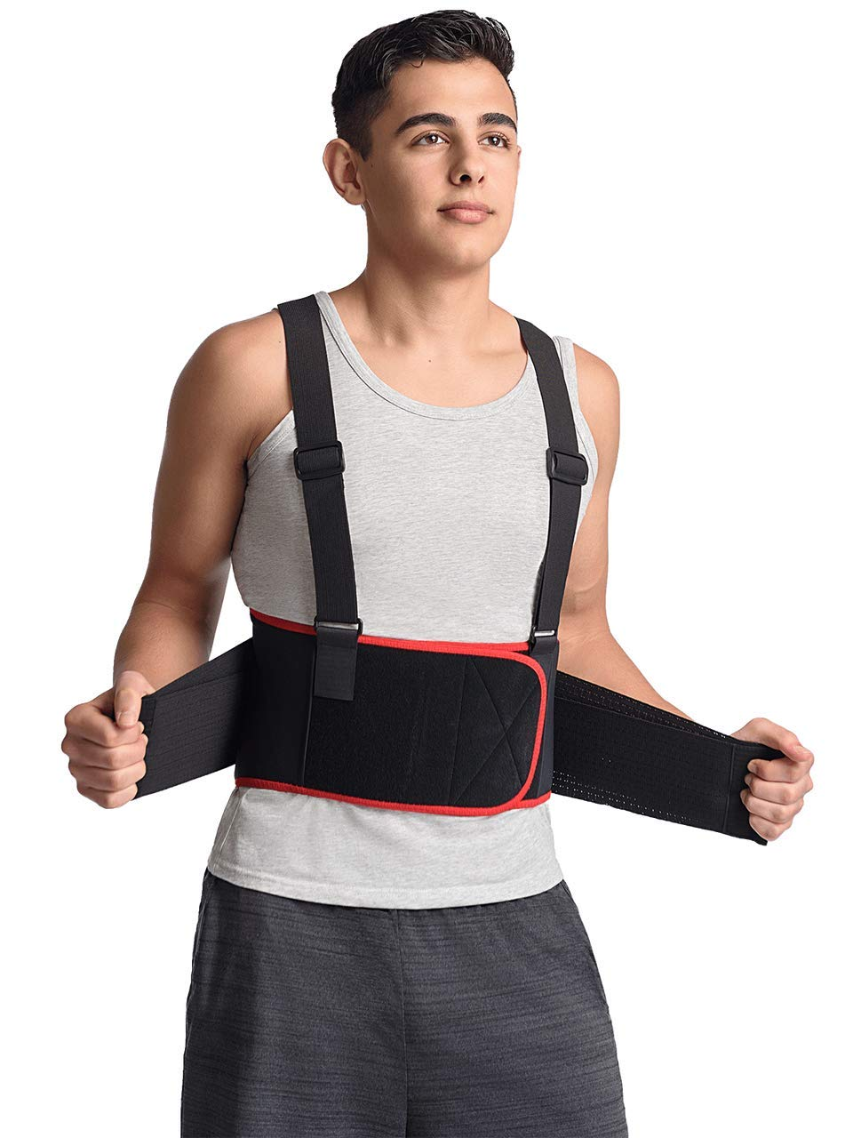 MAXAR Breathable Lower Back Support with Detachable Suspenders IBS-3000: Black Medium