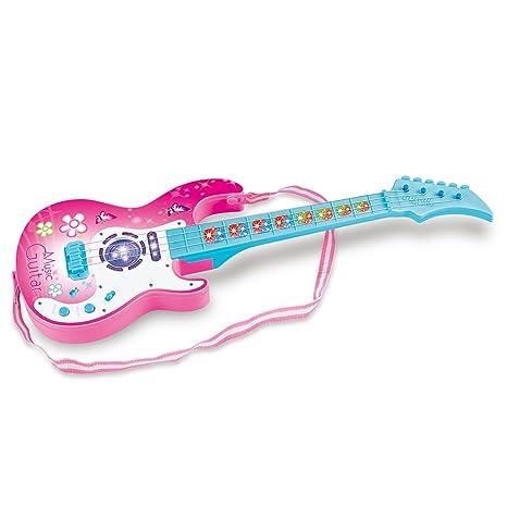 MRKE Guitarra Electrica Niños 4 Cuerdas 1:1 Cuerdas Ajustable Guitarra Juguete con 4 LED