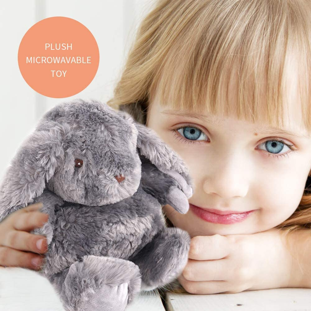 NEWGO Microwavable Plush Toy Stuffed Animal Plush Pal with Natural Micro-Beads for Soothing Warmth & Comfort - Rabbit Gray