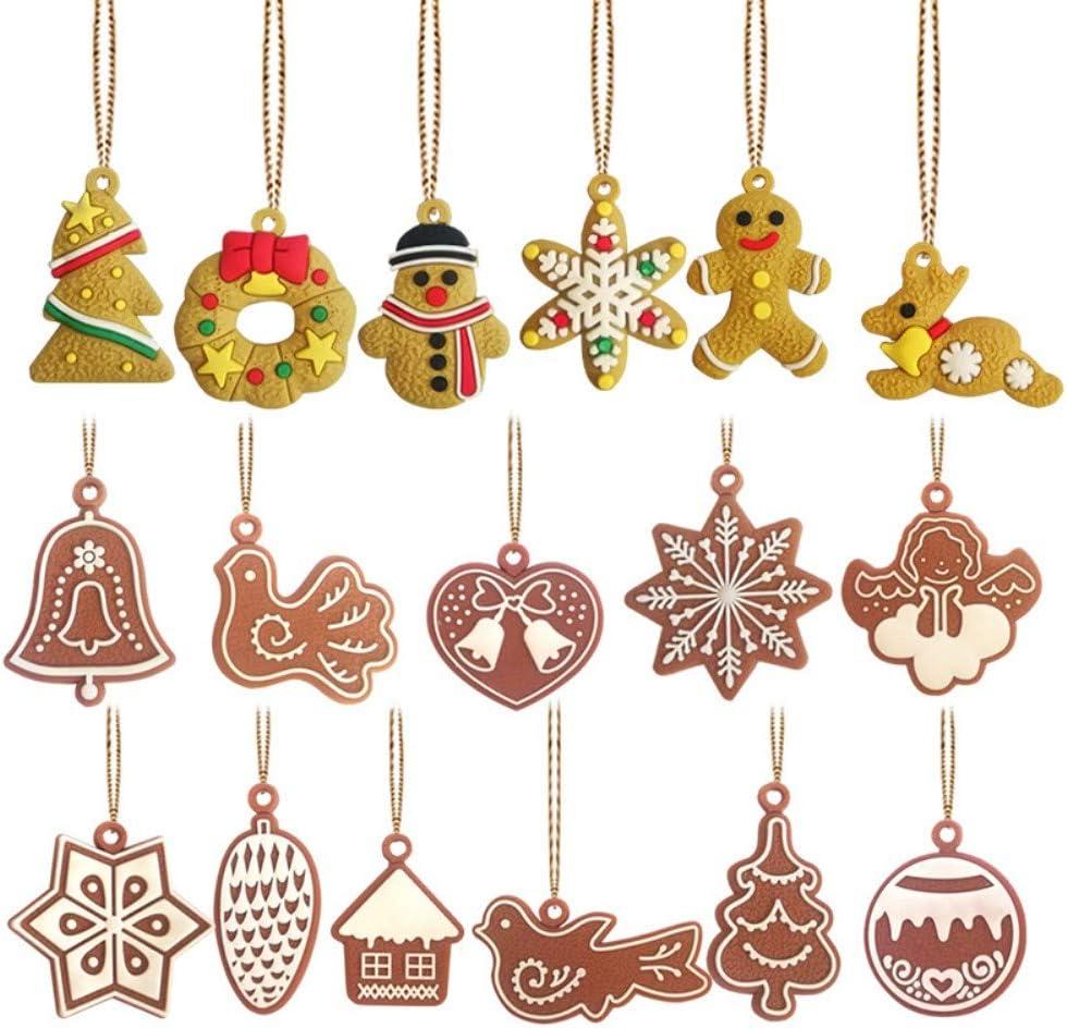 Kungfu Mall 17 piezas árbol de Navidad adornos de PVC suave de goma animales copo de nieve muñeco de nieve viento campanilla de pájaro ángel colgantes para árbol de Navidad colgante decoración.