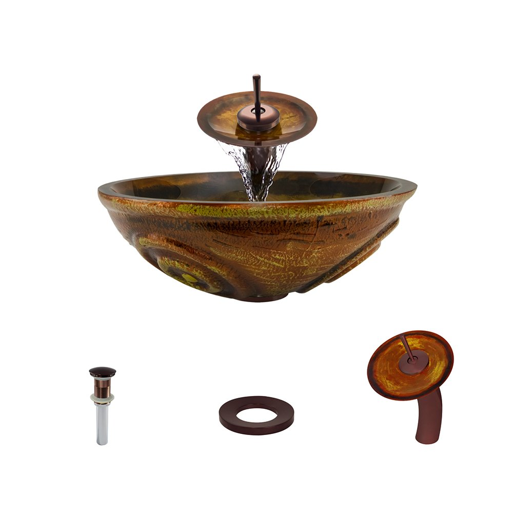 610 Oil Rubbed Bronze Waterfall Faucet Bathroom Ensemble by MR Direct