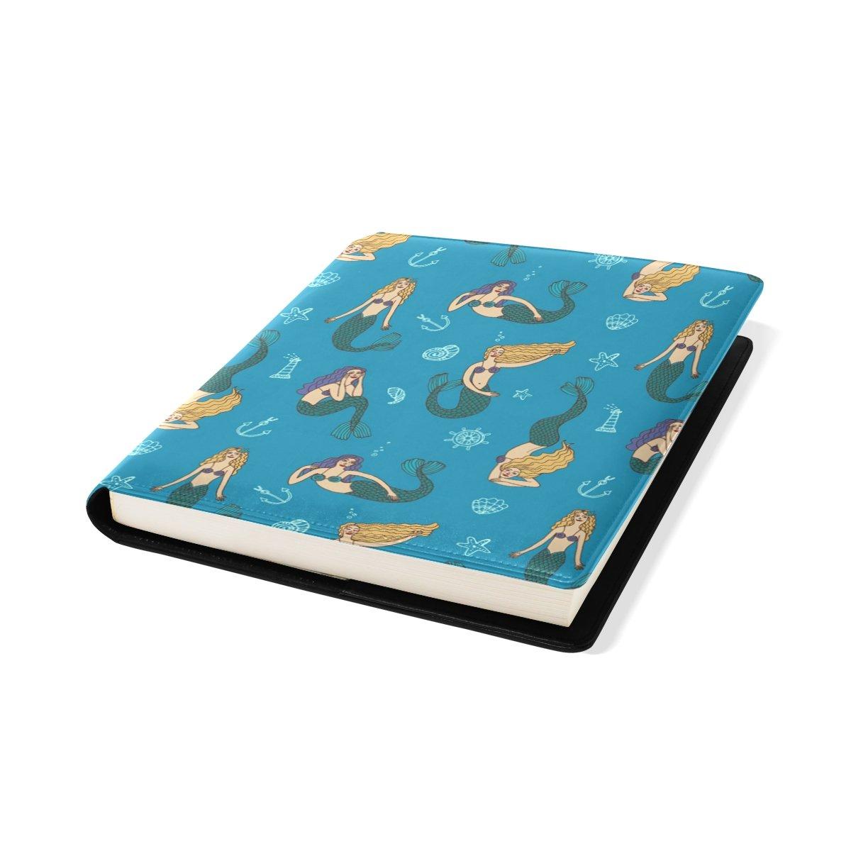 Coosun Meerjungfrauen Muster Buch Sox dehnbar Buchumschlag, passt die meisten Hardcover-Lehrbücher bis zu 9 x 11. Klebstoff-frei, Pu Leder Schulbuch Protector