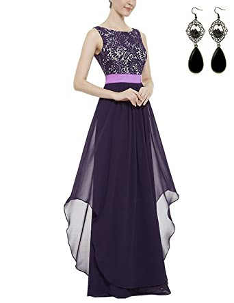 Sitengle Women Sleeveless V Back Lace Patchwork Evening Wedding Long