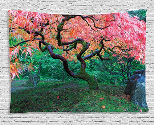 Nature Tapestry Japanese Decor by Ambesonne, Aged Red Leaf Maple Tree with Moss in Asian Garden Scenery in the Fall, Wall Hanging for Bedroom Living Room Dorm, 60L X 40W Inches, Green and Vermilion