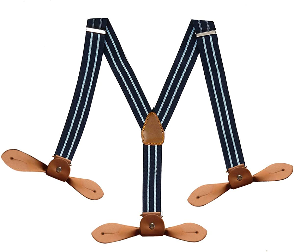 Fully Adjustable and Elasticated Fashion Accessories for men Trimming Shop Mens 25mm Braces in Navy with Heavy Duty Button hole Suspenders Stripe Dark Coffee Beige
