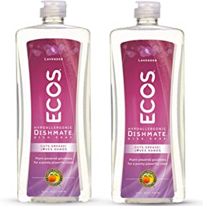 Earth Friendly Products ECOS Dishmate Dish Liquid, Lavender 25 oz. (Pack of 2)