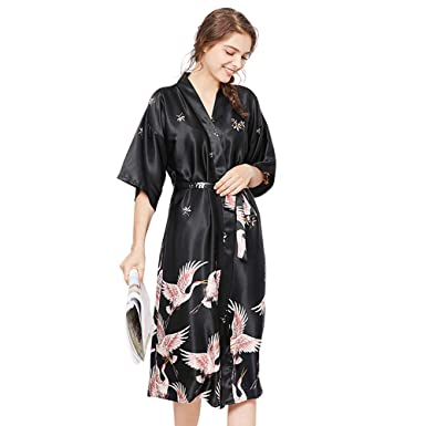 3d28cc60de025 Women's Kimono Robes Print Kimono Imitation Silk Long Style Floral Satin  Robe Bride Bridesmaid Kimono Sleepwear