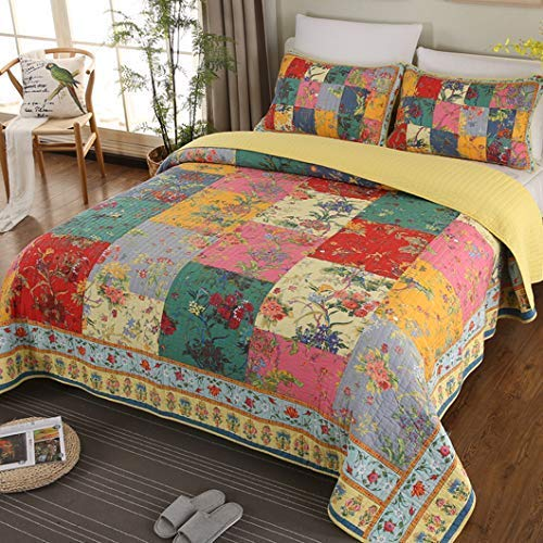 Jessy Home Floral Patchwork Quilt Set Cotton Bedspread Embroidered Stitching Coverlet Set Suitable for All Seasons Super Soft Plaid Full/Queen Size (90
