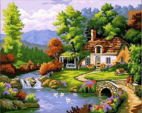(Dorara DIY Oil Painting Paint by Number Hand Paintworks 16×20 Inches Fairy Tale Cottage )