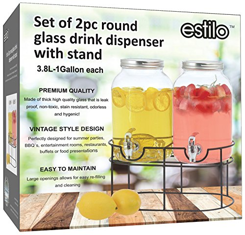Estilo 1 gallon Glass Mason Jar Double Beverage Drink Dispenser On Metal Stand With Leak Free Spigot, Clear (Glass 1 Beverage Dispenser Gallon)