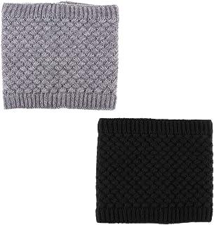 IPOTCH 2 Pezzi di Sciarpa Invernale Unisex Casuale Uomo e Donna Inverno Scaldacollo Cappuccio della Sciarpa Accessori - Nero Grigio